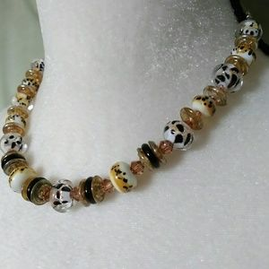 Jewelry - Sterling Silver Artistic Glass Bead Necklace